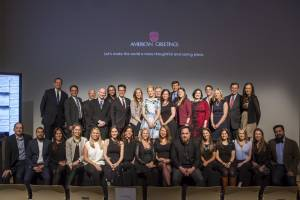 ThankList launch event with Elizabeth Banks posing with American Greetings employees
