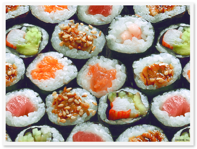 closeup of a plate of sushi