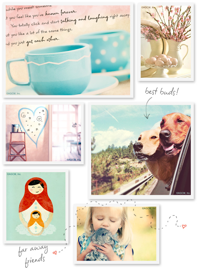 Friendship moodboard with nostalgic photos of a child with a pet, some dogs, and nesting dolls