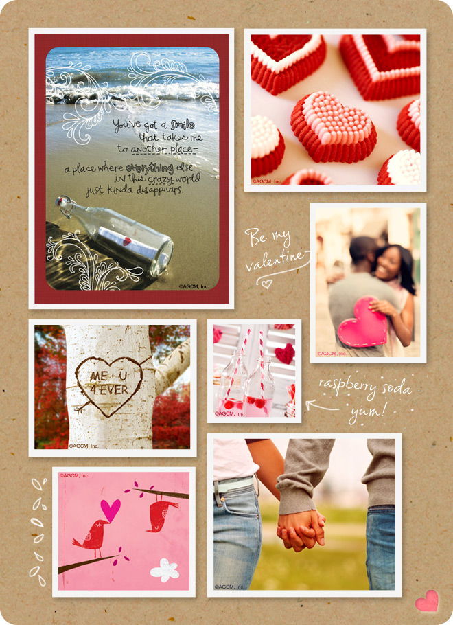 Romance moodboard with images of Valentine hearts and people holding hands