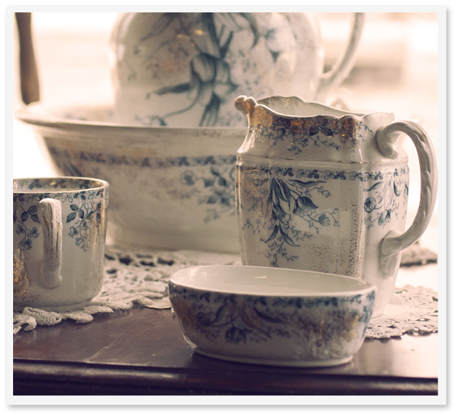 photo of an antique porcelain tea set