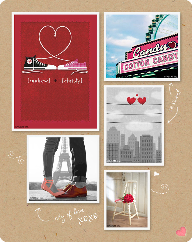 Shoes moodboard with nostalgic photos of red shoes and a cotton candy sign at an amusement park