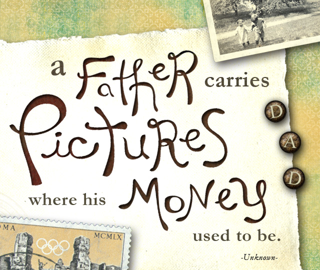 A father carries pictures where his money used to be