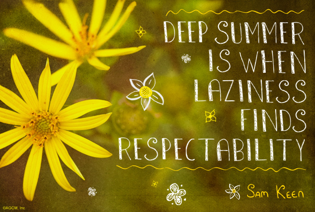 "Summer quote: ""Deep summer is when laziness finds respectability."" - Sam Keen"