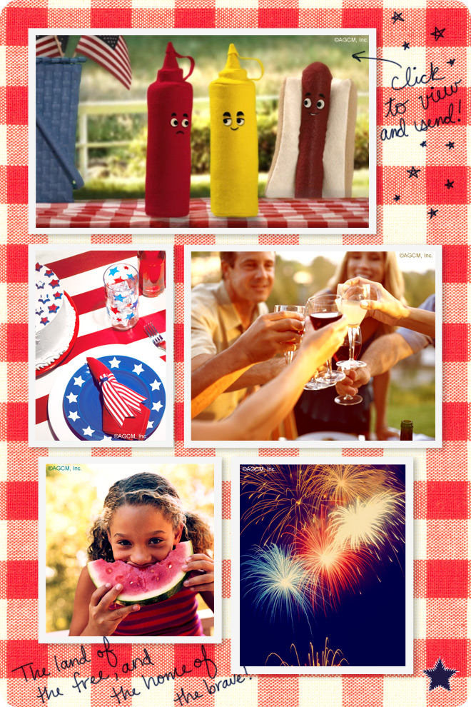 Fourth of July Picnic Ideas - ketchup, mustard, hot dogs, festive forth of july tableware