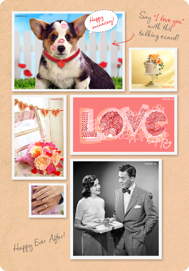 Lovely Anniversary ecards and cards -  cake, flowers, dog kisses, and people