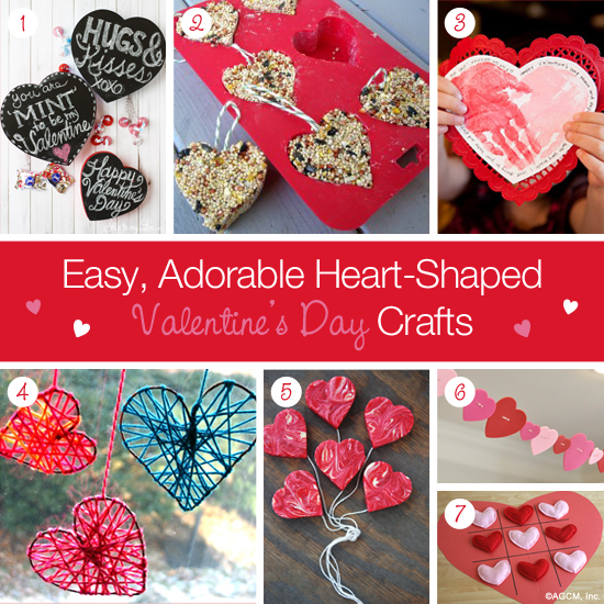 DIY Valentine's Day Crafts - heart shaped bird feeder, handprints, yarn hearts, valentine garland