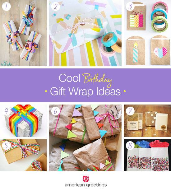 Cool Birthday Gift Wrap Ideas - gifts wrapped creatively in bright colors and soft pastels