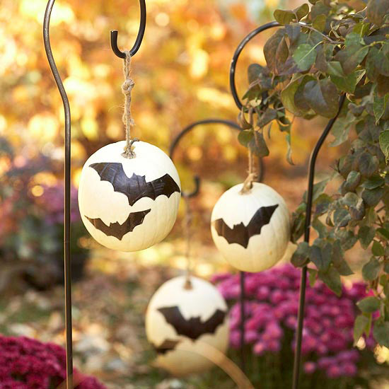 Painted bat pumpkins