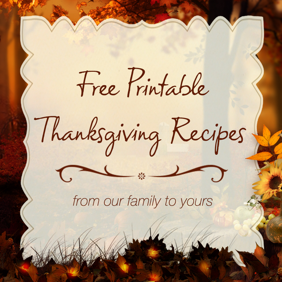 Free Printable Thanksgiving Recipes
