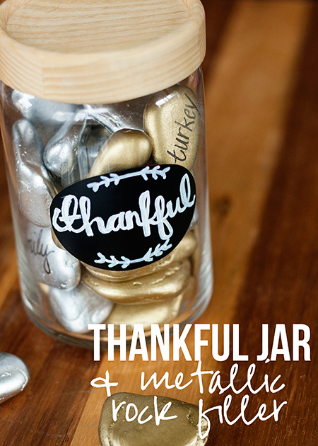 Thankful Jar with Metallic Rocks from One She Two She