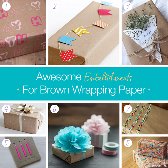 Gifts wrapped in brown paper with colorful DIY decorations.
