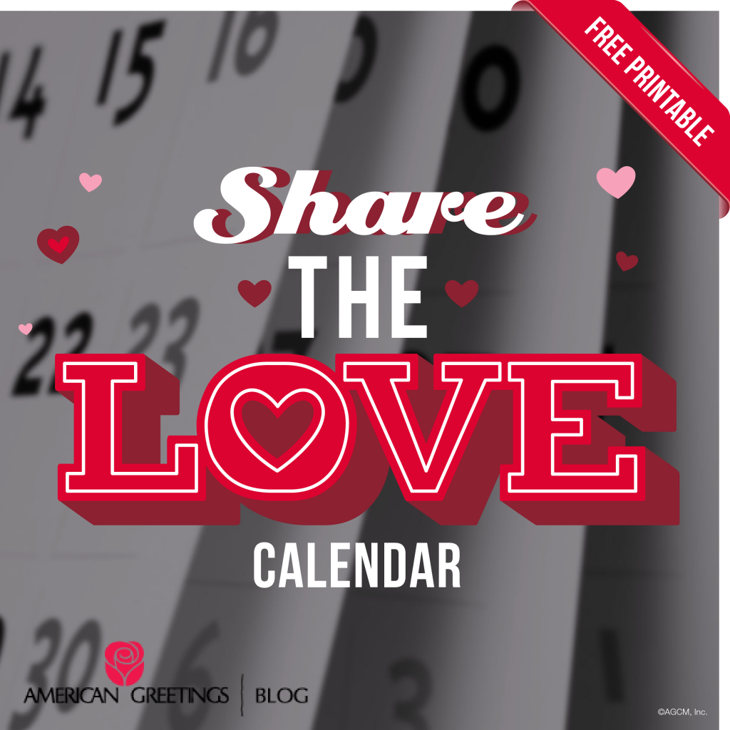 Share the Love - Free Printable Valentine's Day Calendar