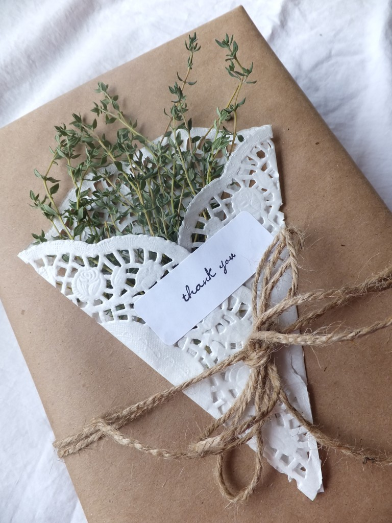 Brown wrapping paper with herbs and paper doilies by Blue Purple and Scarlett