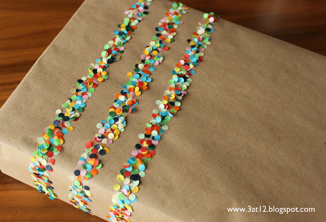 Confetti gift wrap stripes on brown wrapping paper by 3@12