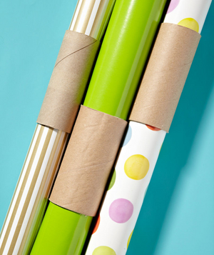 Toilet Paper Tube as Wrapping Paper Holder by Real Simple