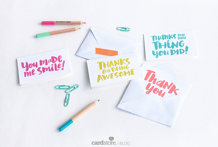 Free Mini Thank You Notes by the Cardstore Blog
