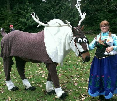 Pet Halloween Costumes - Anna and Sven from Frozen