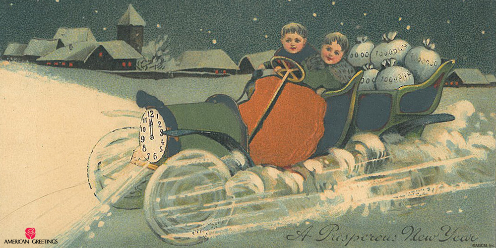 vintage new years cards american greetings blog 1900s card