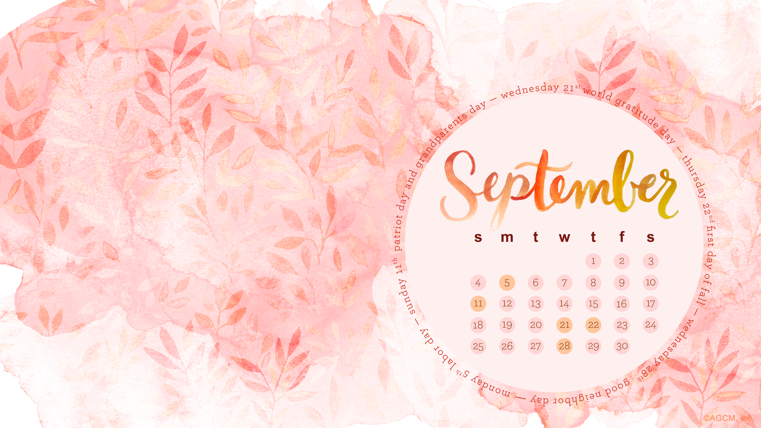 September free desktop calendar and new items for the shop