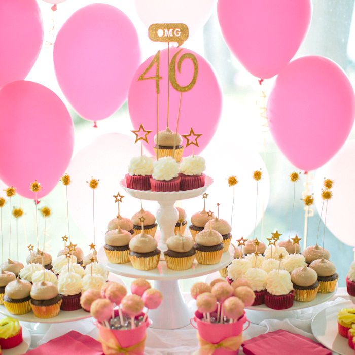 40th Birthday Party Ideas - Pink and Gold theme