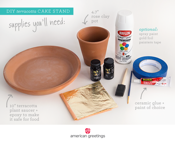 DIY terracotta cake stand supplies