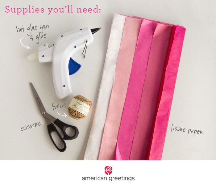 Supplies to make a tissue paper tassel