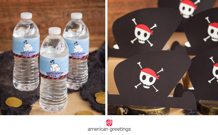 Pirate birthday water bottle label and hat