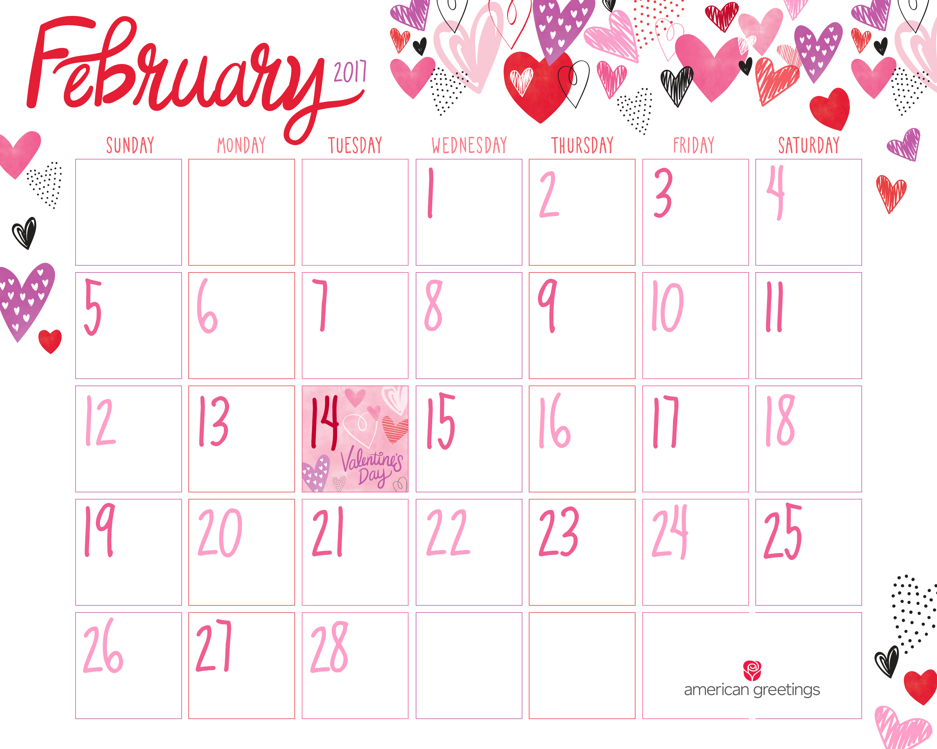 Crafty image inside printable february calander