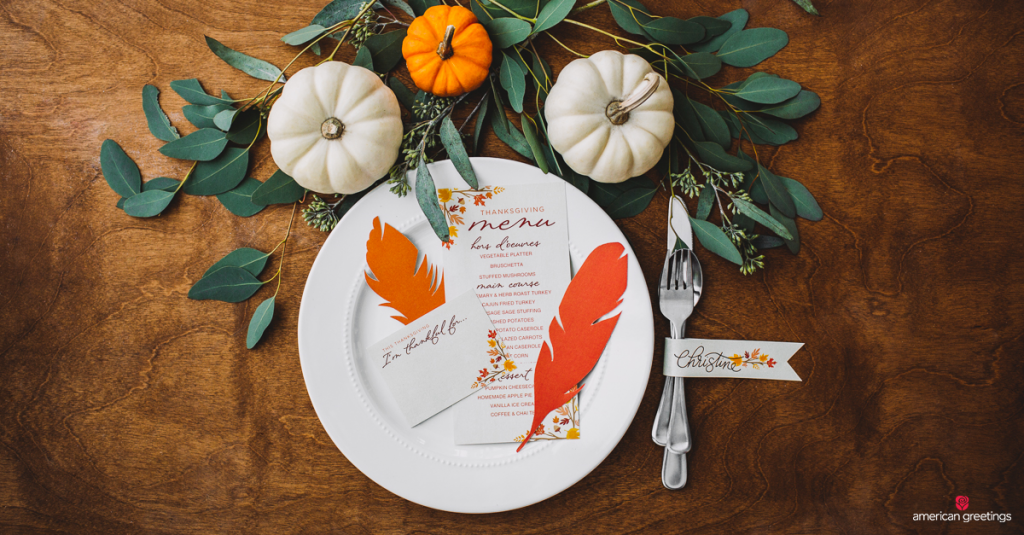 thanksgiving place setting with plate and silverware