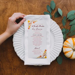thanksgiving menu on top of dinner plate
