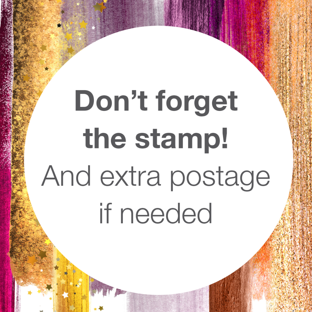 Addressing Envelopes Tip: Don't forget the stamp