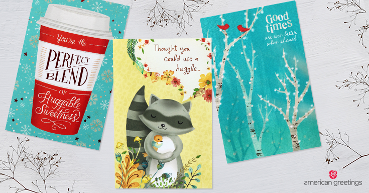 3 cards with warm wishes - huggable sweetness, sending a huggle and sharing good times together.