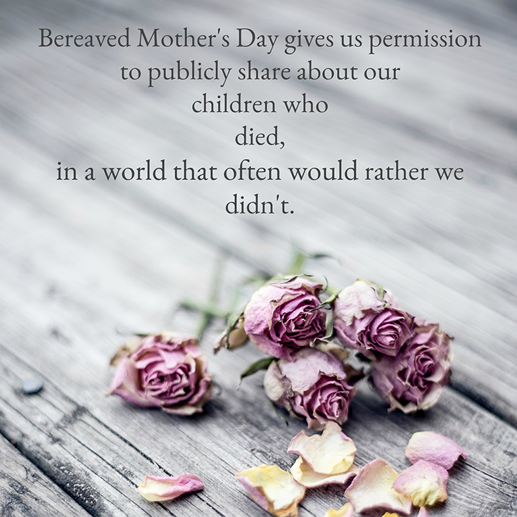 Bereaved Mother's Day - May 8 - pink roses on a gray hardwood backdrop