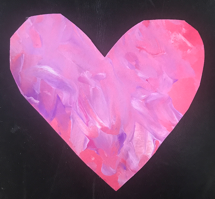 A heart cut out of paper and finger painted by a child makes a great keepsake for mom.