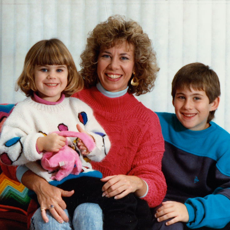 A vintage picture of Kathy Davis with her children when they were young.