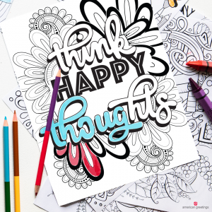 Think happy thoughts coloring book page