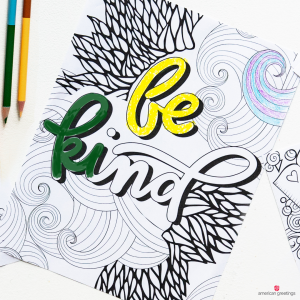 Be Kind coloring book page