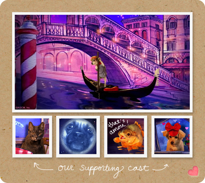 That's amore=moodboard showing the dog Uggie and other characters from the ecard