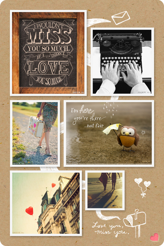 Moodboard - Love you, Miss you. Nostalgic images of travel and a vintage typewriter