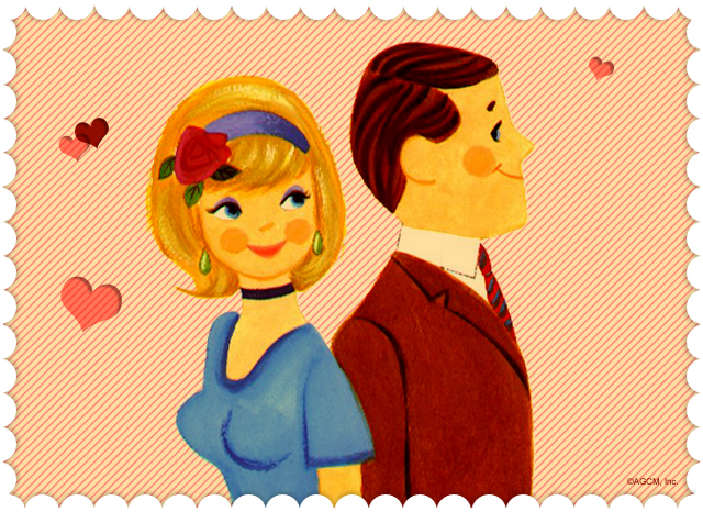 vintage style artwork of a man and woman smiling