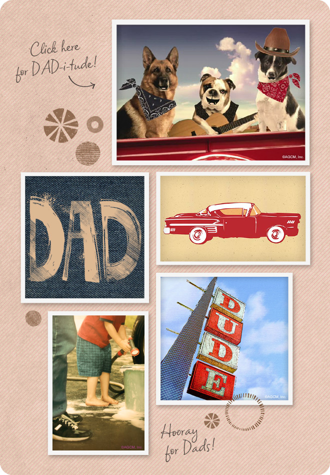Funny Father's Day cards and ecards - featuring cars, retro scenes, dogs and photographs.