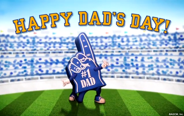 #1 Dad Ecard - A bright sporty outdoor stadium scene celebrating a #1 Dad