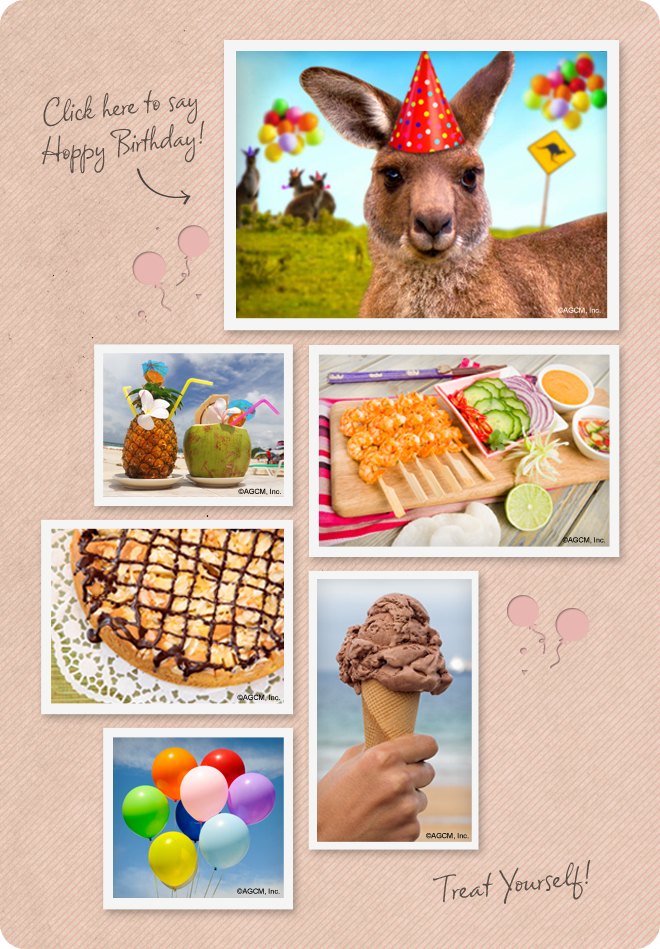 Summer Birthday Mood Board with birthday cards - ice cream, balloons, dessert, tropical birthday drinks