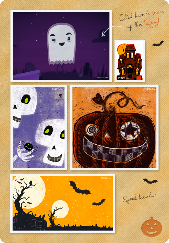 Frightfully fun Halloween ecards - cute ghosts, goblins and scary scenes