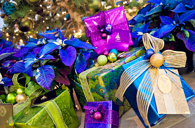 colorfully wrapped gifts and poinsettas