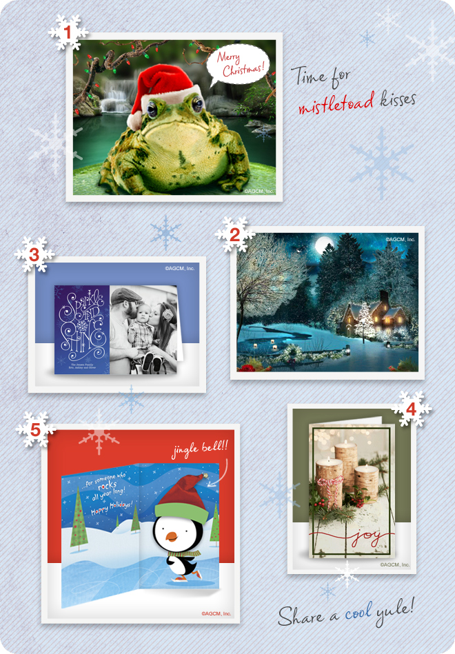 Top Holiday Picks for Christmas paper cards and ecards - Christmas Frog Card, Sparkle and Shine Greeting Card, Happy Holidays Penguin Card, Holiday Candles Card