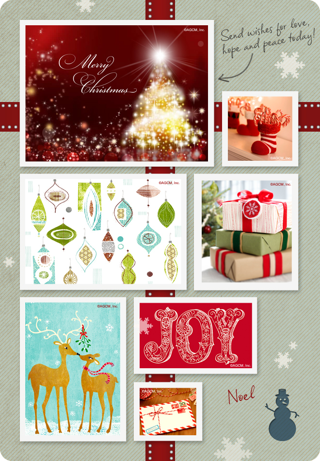 Holiday moodboard with Christmas cards
